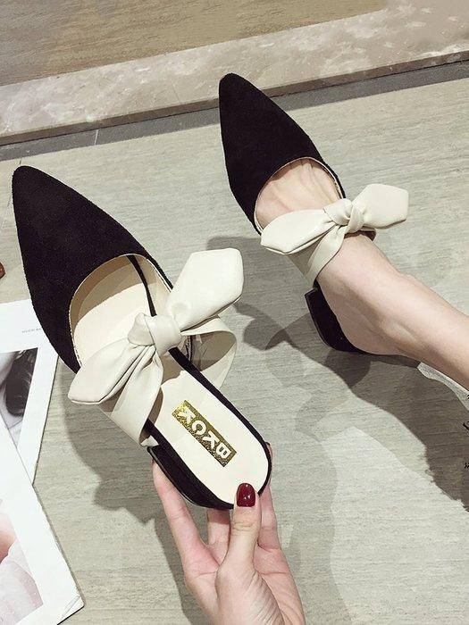小尤家~網紅涼鞋女夏季新款韓版百搭淺口尖頭蝴蝶結粗跟超火仙女拖鞋