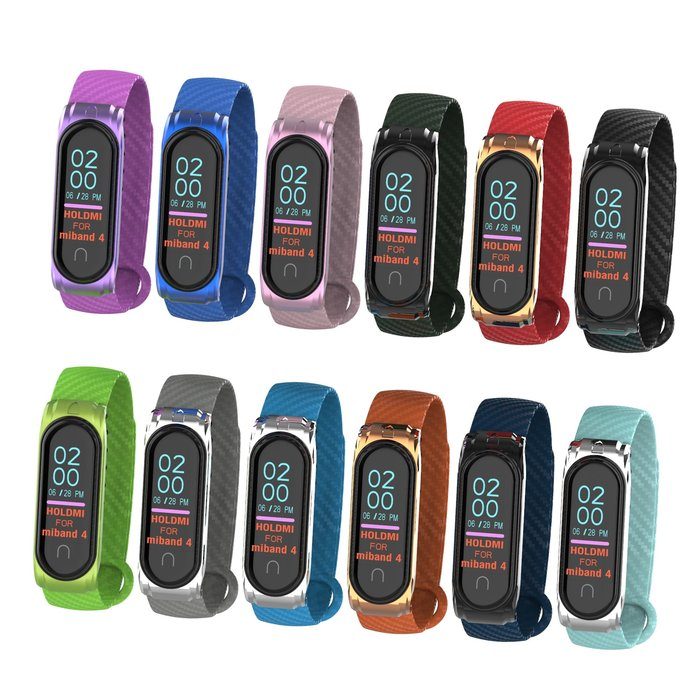 小米手環4NFC替換腕帶 碳纖維紋透氣 金屬殼 智能手錶帶 替換腕帶 運動型錶帶