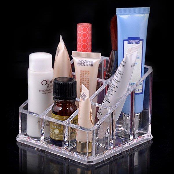 5Cgo【鴿樓】會員有優惠 18503732655 透明化妝品收納架口紅脣蜜收納盒塑料護膚品收納盒儲物盒【9格兩個一組】
