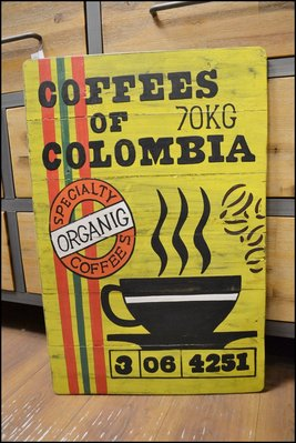 美式鄉村工業風 原木仿古手工彩繪木版畫 黃色咖啡杯 掛畫壁畫木框畫掛飾壁飾牆面裝飾品蓋電箱台中家具【歐舍家飾】