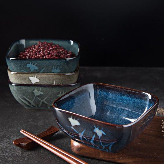 奇奇店-日式餐具創意手繪陶瓷碗家用釉下彩方形米飯碗4.5寸吃飯小碗湯碗#簡約 #輕奢 #格調