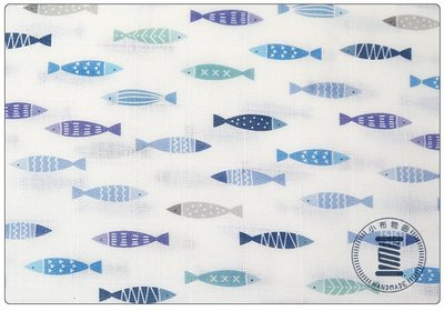 ✿小布物曲✿ 百分百純棉二重紗-藍色小魚 印花布 窄幅110CM 韓國進口質感優 單價 口罩