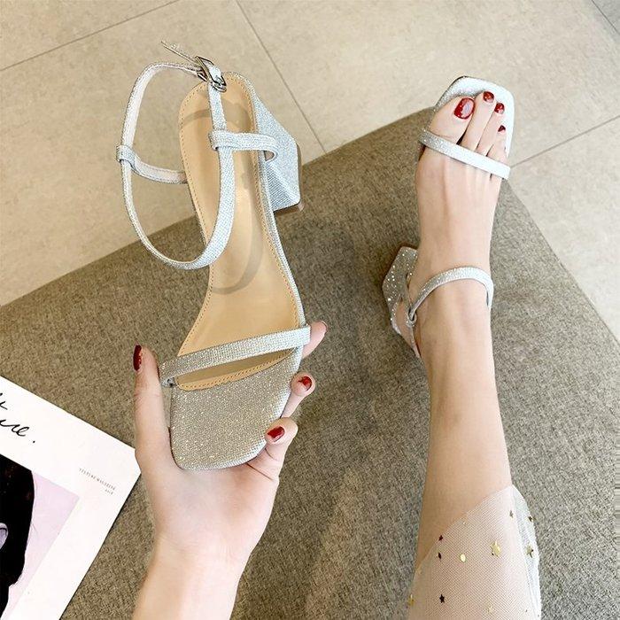 有家服飾網紅涼鞋女仙女風ins潮2019夏季正韓超火百搭粗跟露趾亮片高跟鞋