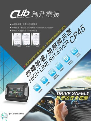 支架王 Cub CP45 搭配原廠車輛胎壓 胎壓顯示器 胎壓接收器 胎壓偵測器 四輪胎溫 ㊣台灣製 現代 SUPER ELANTRA SANTA FE 專用