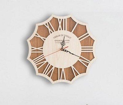 時鐘大號創意掛鐘客廳藝術復古靜音個性北歐風格現代掛表實木時尚【3C創意生活館】-L3851