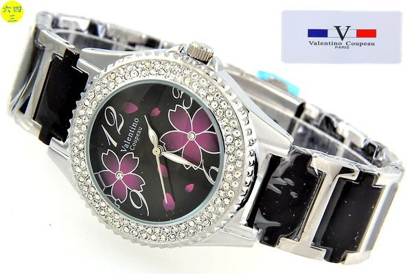 (六四三精品)范侖鐵諾(真品)花型圖紋面盤.黑色陶瓷錶帶.外框水鑽.精準錶!