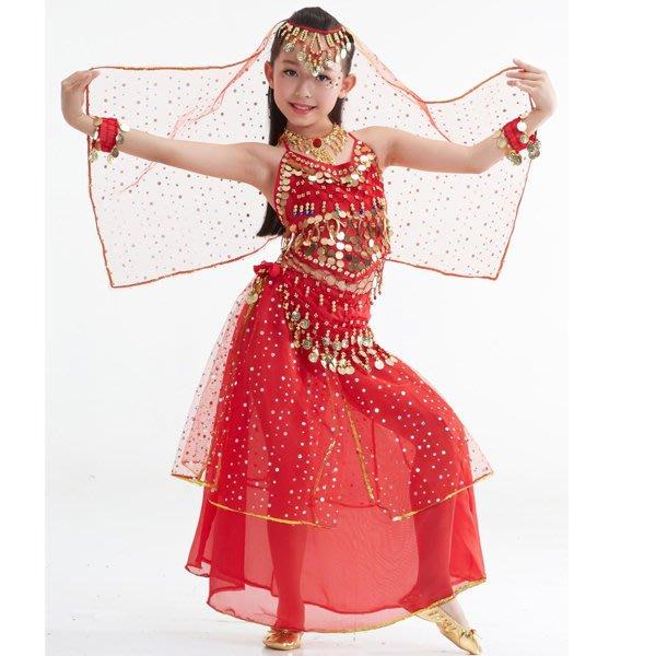 5Cgo【鴿樓】會員有優惠 40193095825 印度風少兒肚皮舞套裝印度舞蹈吊幣上衣網紗大亮片裙演出服裝 兒童舞衣