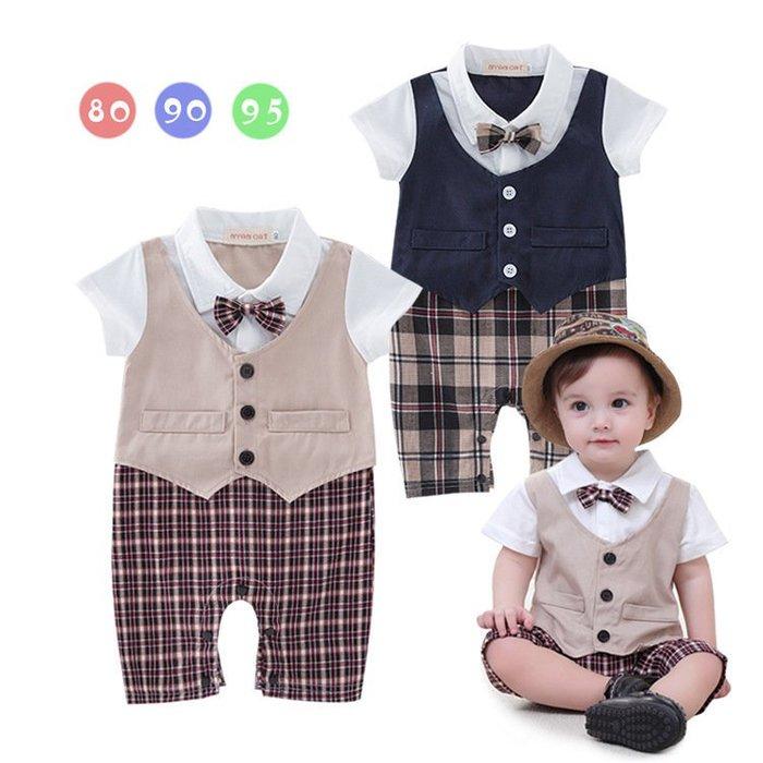 【衣Qbaby】0330男寶寶滿月周歲寫真禮服绅士短袖馬甲格子褲連身衣