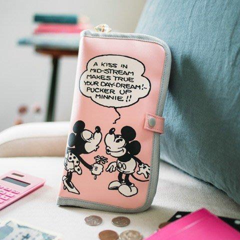☆Juicy☆日本雜誌附錄附贈迪士尼 米奇 米妮 多功能 小物包 收納袋 手拿包 護照夾 手機包 收納包 2103