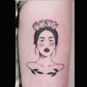 【萌古屋】花朵黑髮美少女16 - 逼真男女防水紋身貼紙刺青貼紙 K61