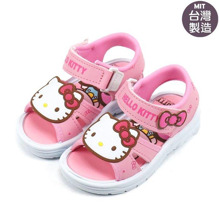 女童鞋/ Hello Kitty 凱蒂貓魔鬼氈兒童涼鞋. 粉14-19號