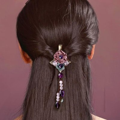 頭頂發夾發前夾復古淑女發飾民族風半扎頭飾頭花女劉海小夾子邊夾