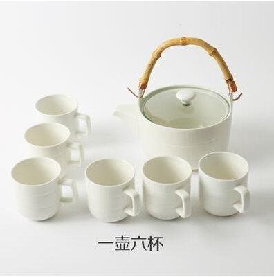 【優上】日式竹柄茶壺 花草茶具 水杯 陶瓷茶具 水壺杯「平行紋款一壺六杯」