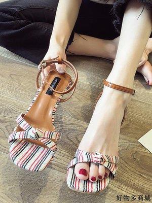 涼鞋 跟鞋 一字帶涼鞋 羅馬鞋 涼鞋女仙女風夏款ins可愛粗跟高跟鞋露趾一字扣帶條紋羅馬鞋新品優選免運