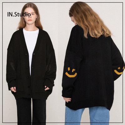 活動促銷·INstudio20冬韓國設計師品牌GRAVER正品新款免運笑臉寬松針織外套