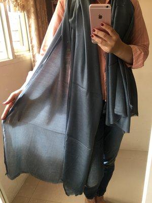 夢夢園SUPERFINE^^特級輕暖特訂款SHAMINA STOLE高級素色羊毛加大披肩200x100CM/ 鐵灰色