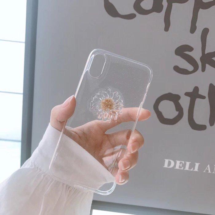 千夢貨鋪-雛菊透明蘋果X手機殼 xs max全包xr/6硅膠7/8plus防摔女軟