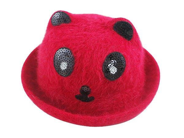 《二鹿帽飾》可愛貓熊 (50~54cm)新款韓版 羊毛貓熊造型帽-2色