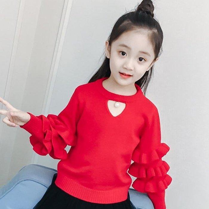 毛衣女童毛衣秋裝新款兒童花邊袖愛心鏤空針織打底衫寶寶大童裝