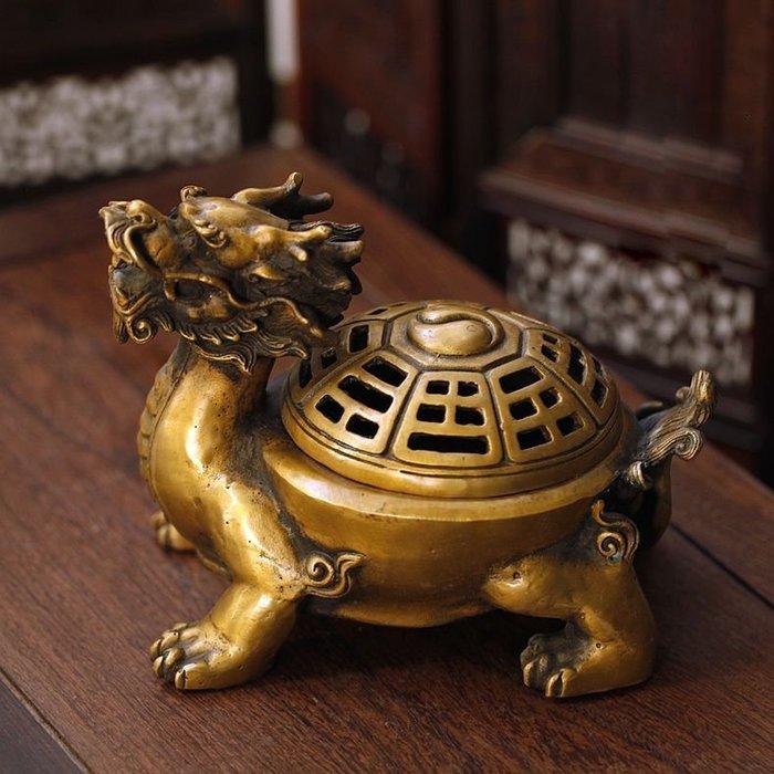 家居風水擺件 香爐 盤香爐 塔香爐仿古八卦龍龜純銅熏香爐