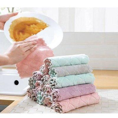 雙面珊瑚絨強吸水抹布廚房不沾油不掉毛洗碗巾加厚擦手巾抹布批發 好再來O