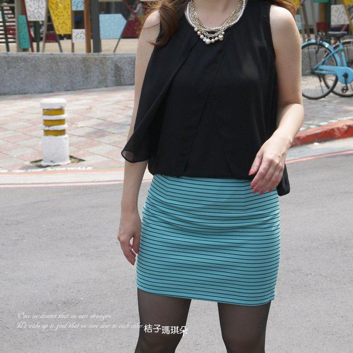 正韓 韓國連線 細條紋 合身窄裙 短裙(天藍色、黑)~桔子瑪琪朵