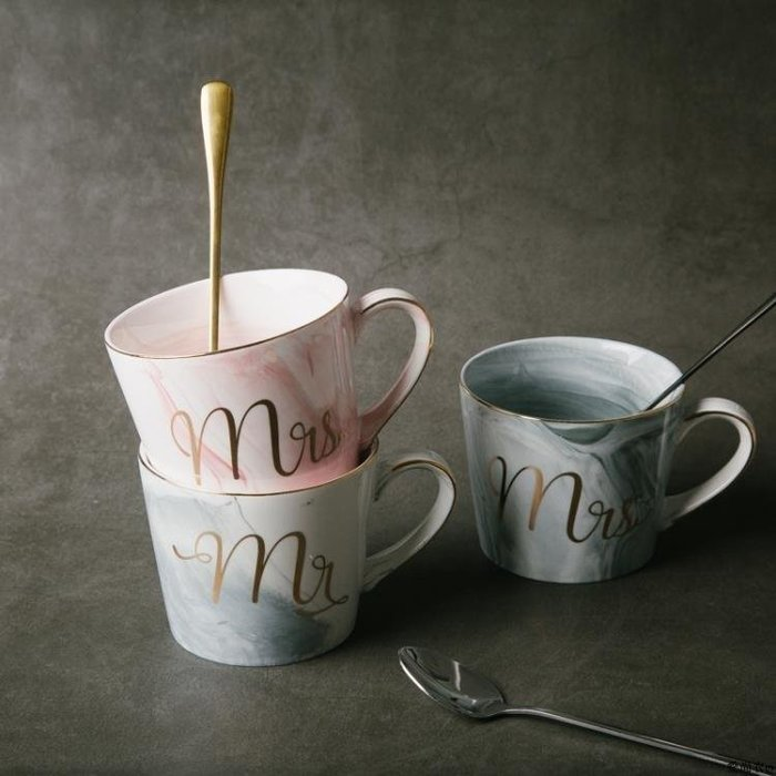 香淘.衣坊 簡約式創意歐式大理石金邊陶瓷馬克杯情侶辦公室居家用牛奶咖啡水杯子LK550