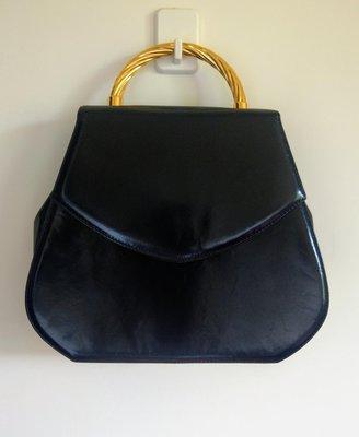 義大利 Corrado Maretto 黑色小羊皮 晚宴包 手拿包 手提包 斜背包 皮包