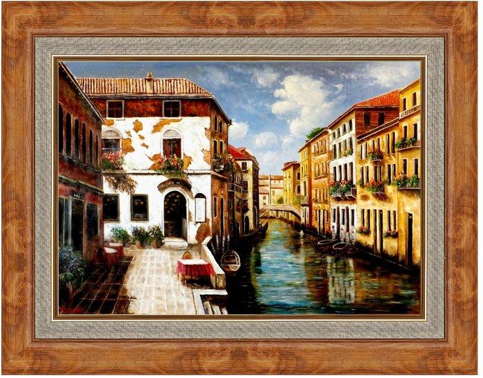 {藝術之都}手繪創作油畫~威尼斯河畔邊~含內框可直接懸掛(實品拍攝)