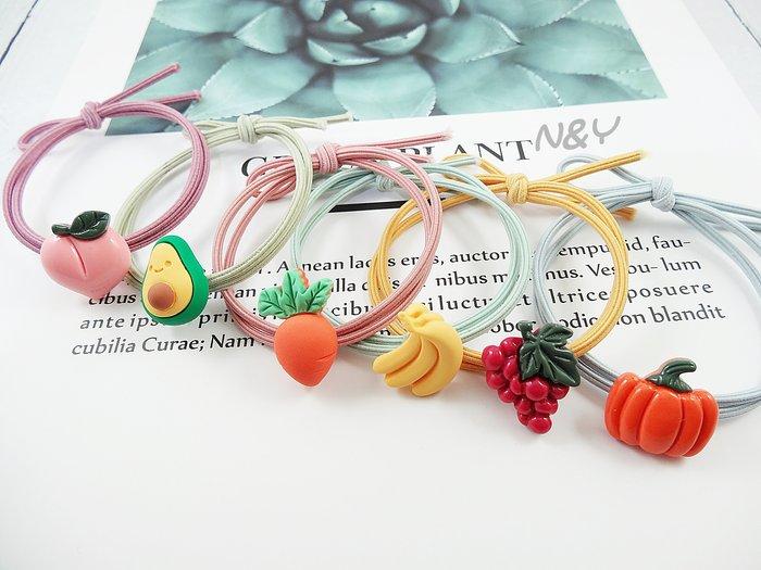韓國ins網紅可愛蔬菜水果髮圈髮飾髮繩兒童髮圈馬尾皮筋☆【N&Y】HR15