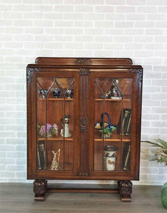 【卡卡頌 歐洲古董】 英國老件  Deco  球根  花葉  玻璃  展示櫃  書櫃  玄關櫃 ca0300 ✬