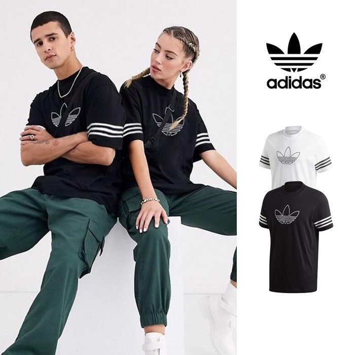 【GT】Adidas 黑/白 短袖T恤 純棉 運動 休閒 上衣 短T 三葉草 FM3897/FM3894