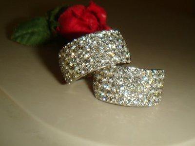 超級白亮熣燦 F級2克拉鑽石寬版密釘鑲...
