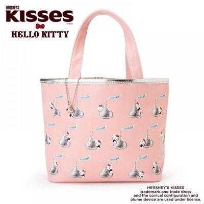 【薰衣草舖子】日本進口 Hello Kitty x Hershey's Kisses 巧克力聯名 皮革手提袋。手提包