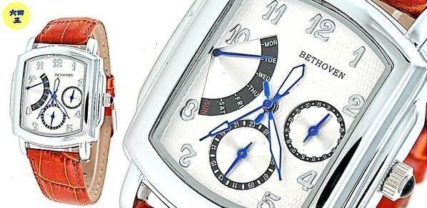 (一元起標)BETHOVEN(真品)復古錶款.FLYBACK(飛返指針功能)三環飛行錶..白