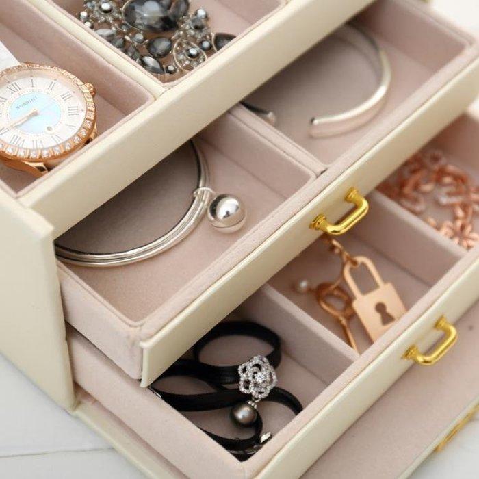 (免運)歐式公主簡約木質首飾盒 韓國清新手飾品帶鎖收納盒 耳釘戒指盒子【莉芙小鋪】
