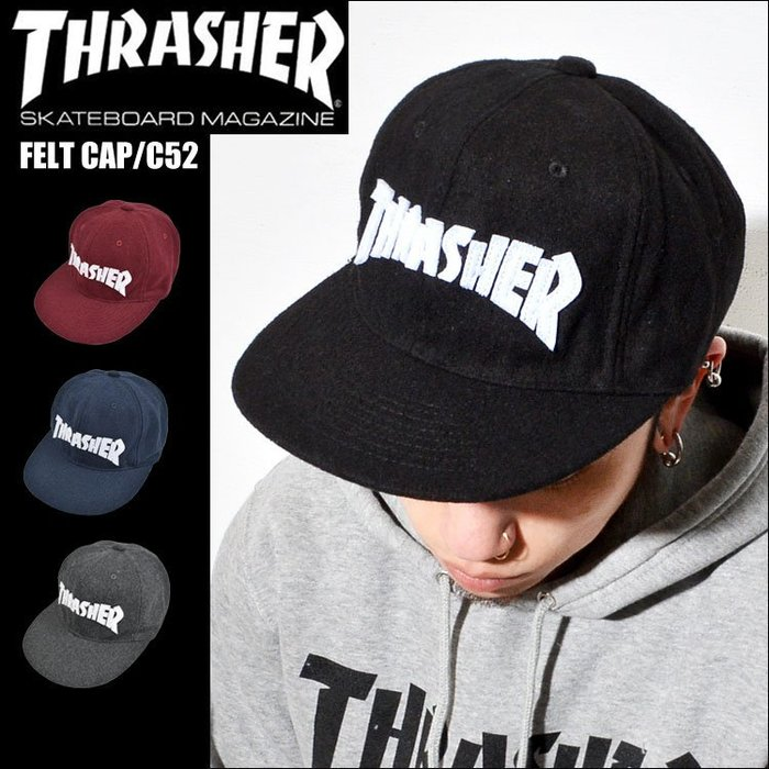 THRASHER 字母拼貼 刷毛  棒球帽 小帽 FLAME LOGO CAP c52 滑板帽  LUCI日本代購空運