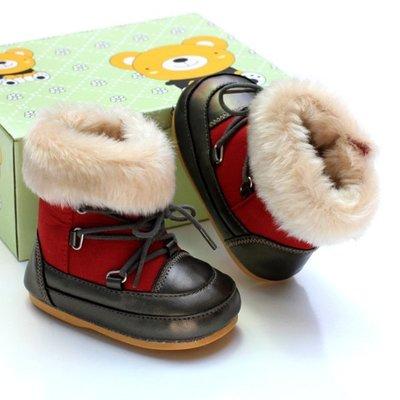 寶貝倉庫~軟膠底~紅色毛毛雪靴~學步鞋...