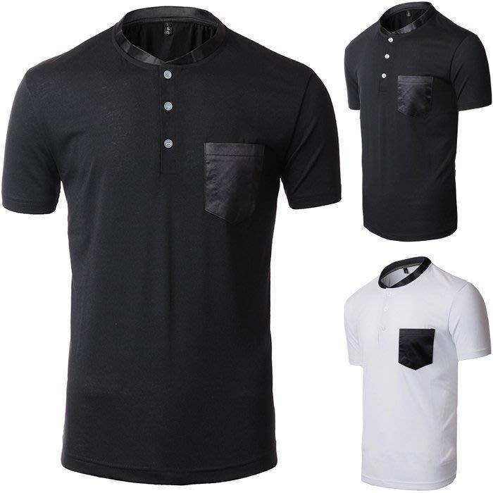 『潮范』 S5 外貿新款男士撞色立領短袖T恤 撞色T恤 素面T恤 打底衫 棉質T恤NRG842