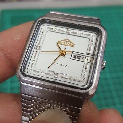 瑞士錶 原裝 BOINE 方型 男錶 漂亮 行走中 非 Rolex SEIKO ORIENT 水鬼錶 OMEGA S8