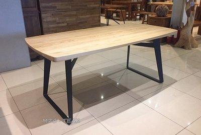 【美日晟柚木家具】現代感餐桌 簡約餐桌 栓木鐵腳餐桌 辦公桌 原木寫字桌 工作桌 工業風 原木鐵腳桌
