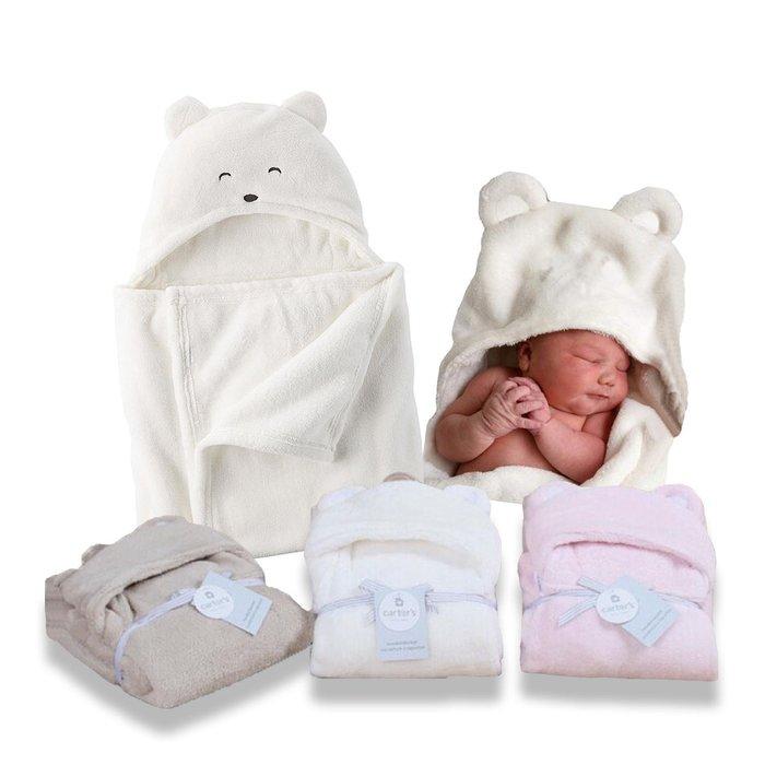 <出清>美國卡特carter's正品媽咪團推薦 超柔軟多功能熊造型保暖抱毯 披風披巾 睡袋 包巾 蓋毯 無螢光劑防靜電
