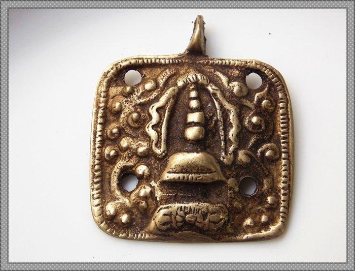 【雅之賞|藏傳|佛教文物】 *特賣* 西藏老白塔老天鐵托甲 吉祥如意吊墜 掛飾~Q025