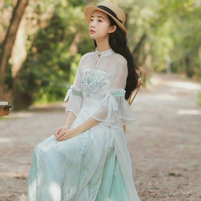 天使佳人婚紗禮服旗袍~古風刺繡雪紡紗連衣裙