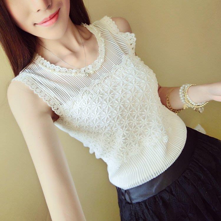 韓版新款女裝甜美蕾絲鉤花圓領背心寬肩背心修身外穿OL外套內搭背心款