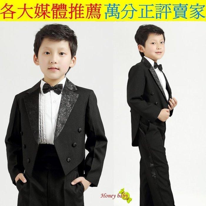 HoneyBaby~NO.575~全新花童幼童兒童五件式西裝外套.,西褲.襯衫,領結,腰封,燕尾服(黑色.白色)899
