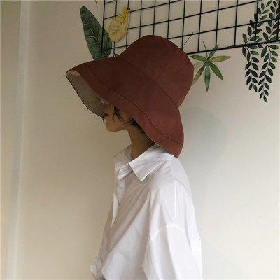 漁夫帽 遮陽帽夏季大檐ins復古風遮太陽漁夫帽子日系文藝百搭雙面戴防曬帽遮臉