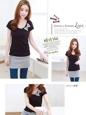 蝴蝶結圓領接色長版T恤(紫色) J-11605