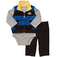 【安琪拉 美國童裝/生活小舖】Carter's 3件式套裝 –藍色橫條(推土機)背心+包屁衣+長褲