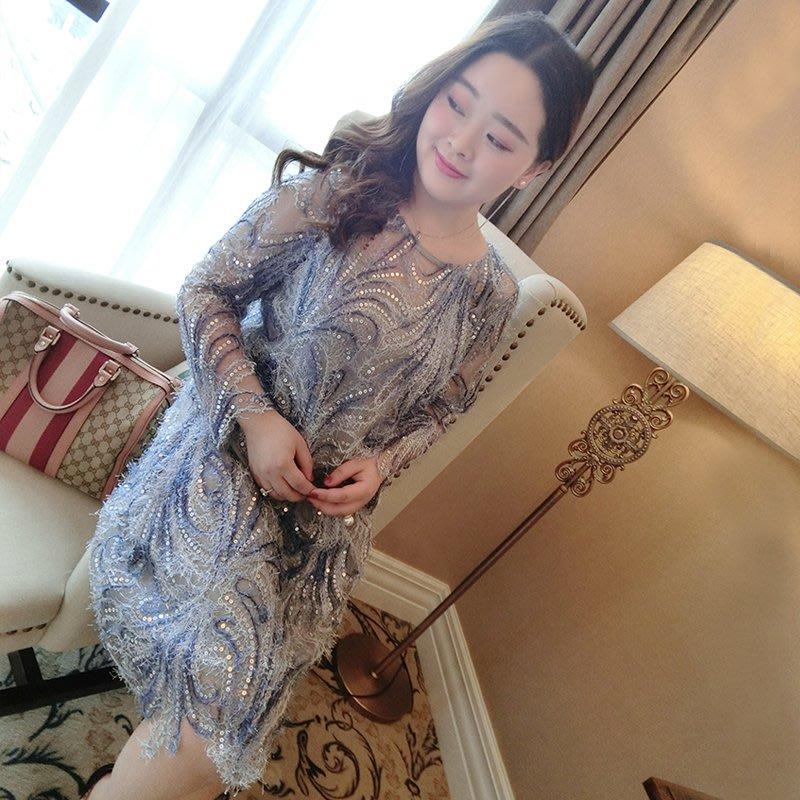 【Korea女裝】含運 優雅名媛風亮片羽毛連衣裙韓版性感華麗顯瘦連衣裙套